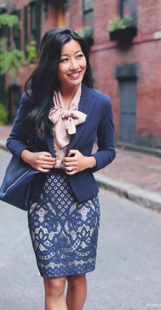 printed skirt in lace, indigo jacket and bag, and stylish floppy bow, perfect and chic