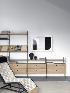 The String chest features two drawers and it is suitable to be used with the String System floor panels. String System is a flexible shelving system that Swedish architect Nils Strinning designed in Furniture, Craftsman Home Interiors, Interior, Home, Home Decor Paintings, Bedroom Interior, Luxury Homes Interior, House Interior, Living Room Inspiration