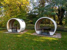 2 x 4 person open outdoor pods Diy Home Furniture, Outdoor Furniture Plans, Street Furniture, Garden Furniture, Pub Design, Coffee Shop Design, Restaurant Design, Outdoor Office, Outdoor Dining