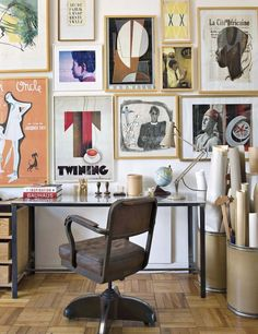 Tour an Elle Decoration Editor's Art-Filled Home Office // gallery wall, leather chair, offices, workspaces