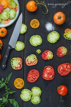 Tomatoes on black table