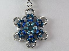 Chainmaille Snowflake Pendant necklace in by TheveninJewelry, $17.50