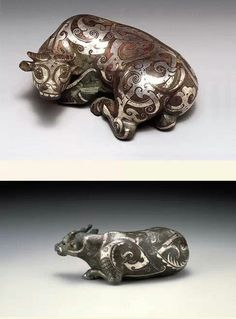 Bronze ox inlaid with silver, Warring States period. Miho Museum, Japan