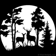 Buck and Doe Deer in the Moonlight, Hunting Vinyl Wall Decal Sticker Art, Removable Home Decor, Mural, White Special Offers - Buck and Doe Deer in the. Hirsch Silhouette, Deer Silhouette, Forest Silhouette, Kirigami, Wall Decal Sticker, Vinyl Decals, Car Decals, Car Stickers, Stencil Templates