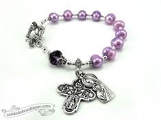 Purple rosary bracelet, one decade rosary, catholic jewelry, confirmation gift, pearl rosary, single decade rosary, chaplet, catholic gift