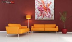 Sofa in living room with art