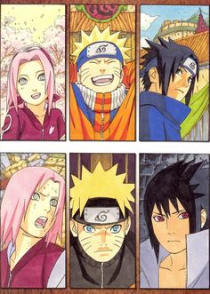 Sakura, Naruto, and Sasuke illustration by Masashi Kishimoto