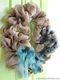 Burlap, Wreath, Deco Mesh, Tutorial, DIY, Twig Works, Natural Decor, Peacock Feather