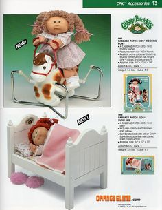 That bed is adorable Cabbage Patch Kids Clothes, Cabbage Patch Kids Dolls, Baby Doll Nursery, Baby Dolls, Retro Toys, Vintage Toys, 80s Girl Toys, Vintage Cabbage Patch Dolls, Toy Catalogs