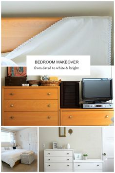 Master Bedroom Makeover: from dated to light and bright. Table Runner headboard fix, painted furniture and new curtains make a big impact on a low budget.