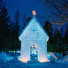 Matti Härkönen builds a fresh ice house in his garden in Sonka, Finland, each year. Due to his bad back, this year's was smaller than usual. Ice Houses, Arctic Circle, Back Pain, The Great Outdoors, Portrait Photography, Scenery, Photos, Cold, Fine Art