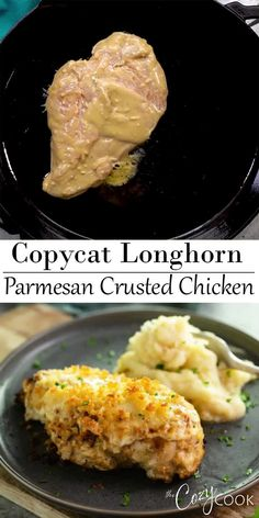 This Copycat Longhorn Parmsan Crusted Chicken recipe has an easy marinade and a delicious Parmesan Crust that s baked on top It tastes JUST like the restaurant version Longhorn ParmesanCrustedChicken Chicken Copycat Dinner Parmesan Crusted Chicken, Chicken Parmesan Recipes, Easy Chicken Recipes, Salmon Recipes, Chicken Shit Recipe, Chicken On The Beach Recipe, Parmasean Chicken, Recipes With Chicken, Ritz Chicken