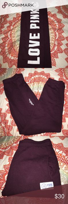 VS PINK Campus Sweatpants Great condition. Maroon color. Banded bottom. Regular seam on rear PINK Victoria's Secret Pants Track Pants & Joggers