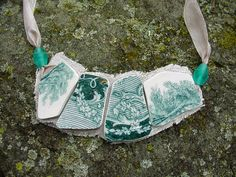 Broken China Jewelry bib style necklace teal blue green English transferware antique china on linen