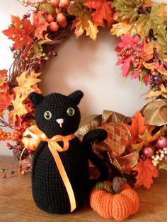 Fall Exclusive Crochet Amigurumi Black Cat by PhillyCrochetCat, $17.00