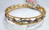 14 K solid gold diamond bangle bracelet