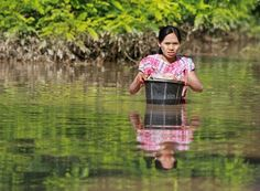 A woman carries her belongings in a plastic bucket as she wades through a flooded area in Magway Region, Myanmar.