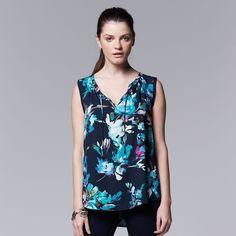 453eafcc47a2f NWT Women Simply Vera VERA WANG Floral Crepe Tie Split Neck Hi Low Blouse S  4-6