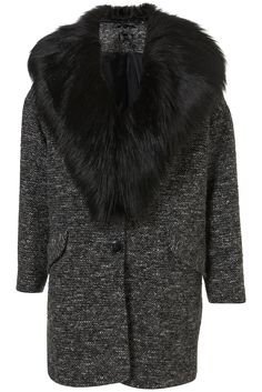 Topshop Textured Fur Collar Boyfriend Coat