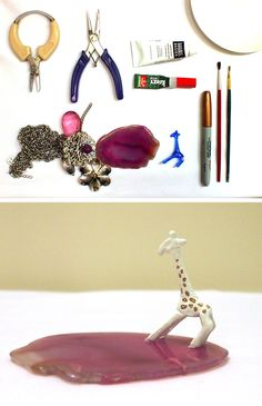 Turn plastic animals and geodes into a cute ringstand!