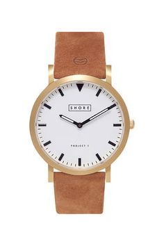 **Shore Projects Portland White Dial Tan Strap Watch