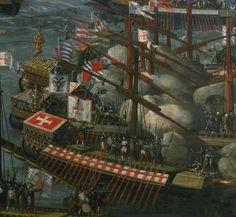 """Spain / Battles, Knights - La batalla de Lepanto fue un combate naval que tuvo lugar en 1571, cerca de la ciudad griega de Náfpaktos. Se enfrentaron en ella la armada del Imperio otomano contra la llamada """"Liga Santa"""", formada por el Reino de España, Estados Pontificios, República de Venecia, Orden de Malta, República de Génova y el Ducado de Saboya. Los católicos, liderados por Don Juan de Austria, resultaron vencedores. Se frenó así el expansionismo otomano en el Mediterráneo."""