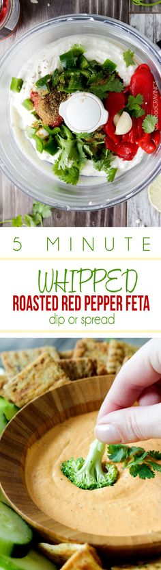 MEGA creamy Whipped Roasted Red Pepper Feta Dip or Spread is so addicting you will be dunking everything in it! The perfect party dip that everyone will LOVE and it only takes 5 minutes to whip up! #dip #appetizer #roastedredpeppers #feta