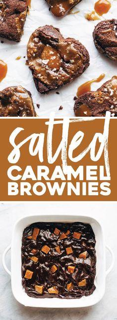 Salted Caramel Brownies ♡ thick, dense, fudgy brownies stuffed with homemade salted caramel. HEAVEN. #brownies #saltedcaramel #dessert #valentinesday #chocolate #baking | pinchofyum.com