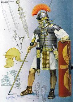 Soldat romain, Ier siècle ap JC. Illustration d'Angus Mc bride.