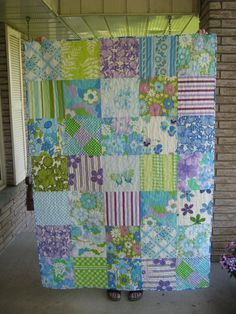 another lap quilt from vintage sheets in blue, green and purple . for the cottage sunroom Vintage Sheets, Vintage Quilts, Vintage Fabrics, Vintage Linen, Retro Vintage, Quilting Projects, Quilting Designs, Sewing Projects, Art Quilting