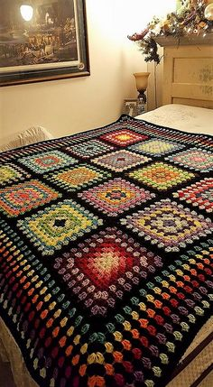 Love hte colours for temp blanket? Random Rainbow Blanket – Handmade In Marbellabest ideas about Crochet blanketsLove the idea of granny squares and stripes together.my first post - afghan this FREE Crochet Blanket Patterns for you to try. Granny Square Häkelanleitung, Crochet Granny Square Afghan, Granny Square Crochet Pattern, Crochet Blocks, Crochet Squares, Granny Squares, Crochet Afghans, Crochet Bedspread, Afghan Crochet Patterns