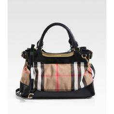 Burberry Hepburn Mixed-Media Bridle House Tote ($1,195) ❤ liked on Polyvore