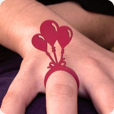 Paper Jewelry, Wooden Jewelry, Paper Ring, Engraved Jewelry, Heart Ring, Balloons, Rings, Design, Print Paper