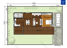แบบบ้านชั้นเดียว แบบบ้านโมเดิร์น แบบบ้านรีสอร์ท แบบสร้างบ้าน + BOQ ใช้กู้ธนาคาร ขออนุญาตก่อสร้าง | DataBKK.com Tropical Style, Working Area, Dining Area, Terrace, Entrance, Floor Plans, Bedroom, House, Country