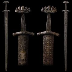 "An Exceptional Viking Sword with Gold and Silver Inlaid Blade and Hilt, early 10th century Overall length: 94 cm (37""); Blade length: 80.6 cm (31.75"")"