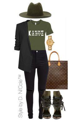 """""""Untitled #3244"""" by stylebydnicole ❤ liked on Polyvore featuring Louis Vuitton, New Look, Helmut Lang, Études, Ivy Kirzhner and Versace"""