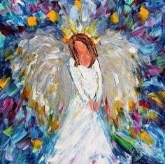 Original oil Winter ANGEL painting by Karensfineart on Etsy
