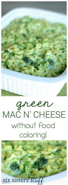 St. Patrick's Day Green Mac n' Cheese WITHOUT ANY food coloring and filled with veggies! #stpatricksday #greenfood #kidfood #sixsistersrecipes