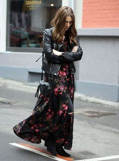 floral long dress leather jacket street style