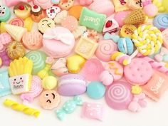 30 pcs Sweets Cabochon Mix - Rainbow Colors pcs by Random) Kawaii Decoden Resin Polymer Clay Fake Food Slime Charms Polymer Clay Miniatures, Polymer Clay Charms, Slime Recipe, Fake Food, Decoden, Cute Phone Cases, Printable Stickers, Rainbow Colors, Sweets