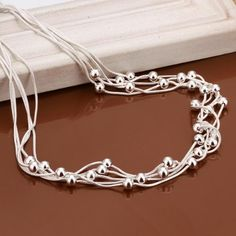Fashion Silver-Plated Multi Wire Beads Charm Chain Necklace Fine Party Jewelry Nice Gift for Women Girl