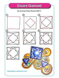 Square diamond zentangle