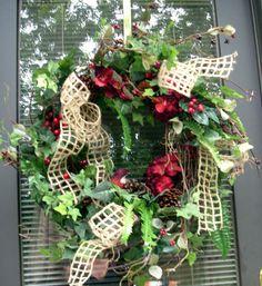 Country Christmas Wreath Christmas Wreath Red by LisasLaurels, $69.00
