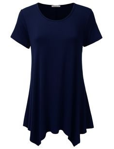 78655f535635 Women's Short Sleeve Loose Fit Swing Tunic Top T-Shirt - Awtts0371_navy -  CC182OT4Z2W