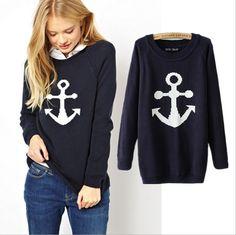 Fashion Anchor Knitting Sweater 9787788