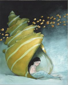 La petite sirène - coquillage - 26 x 32 cm - 800 euros Children's Book Illustration, Illustrations, Watercolor Illustration, Watercolor Paintings, Megan Hess, Art Original, Art Plastique, Comic Books Art, Art Drawings