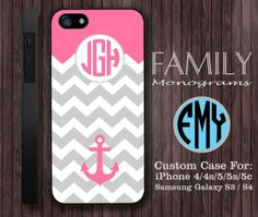 pink chevron anchor monogram hard plastic case by familymonogram, $15.99