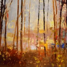 Pond through trees by Santa Fe artist Forrest Moses