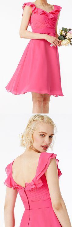 A-Line Square Neck Short / Mini Chiffon Bridesmaid Dress with Sash / Ribbon Pleats Ruffles by LAN TING BRIDE®