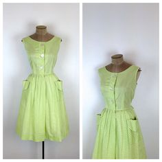50s Green and White Gingham Day Dress  1950s by MotherOfVintage, $57.00